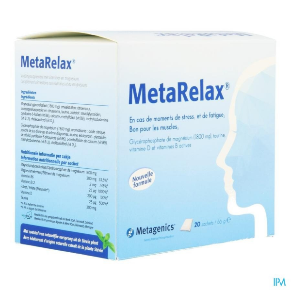 MetaRelax 20 sachets - complément magnesium anti-stress fatigue - METAGENICS