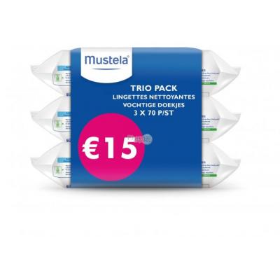 MUSTELA Trio Pack Lingettes Nettoyantes - 3x 70 pièces