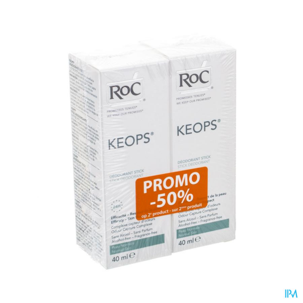 Roc Keops Duo Deo Stick S/alc S/parf P/norm 2x40ml