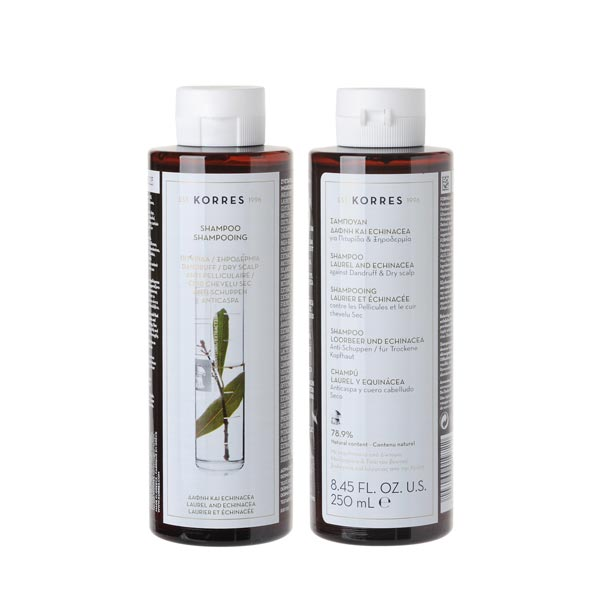 KORRES Shampooing Laurier-Echinacée 2x250ml Promo 1+1 Gratuit  Anti Pelliculaire